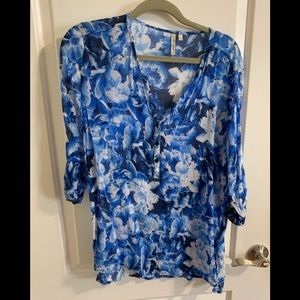 Blue floral long sleeve blouse